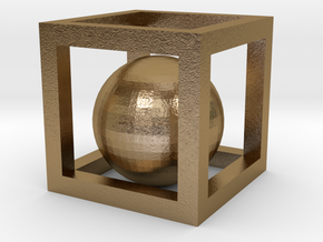 Ball-in-a-Box in Polished Gold Steel