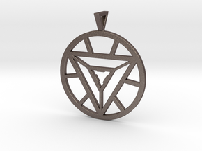 Iron Man Arc Reactor Pendant in Polished Bronzed Silver Steel