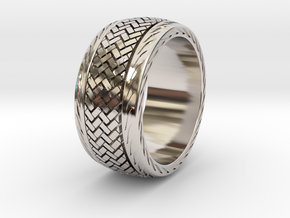 RADIAL RING SIZE 11 in Rhodium Plated Brass