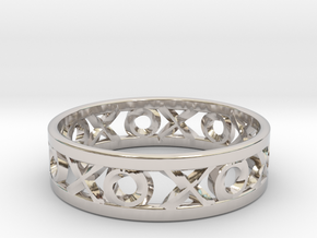 Size 12 Xoxo Ring in Rhodium Plated Brass