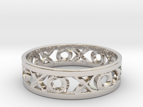 Size 13 Xoxo Ring in Rhodium Plated Brass