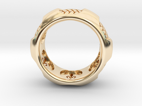 RADIAL 2 RING SIZE 11 in 14k Gold Plated Brass