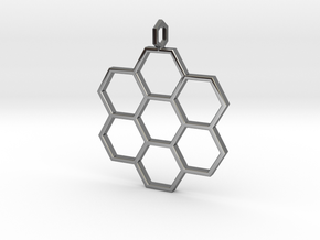 Honeycomb Pendant in Fine Detail Polished Silver