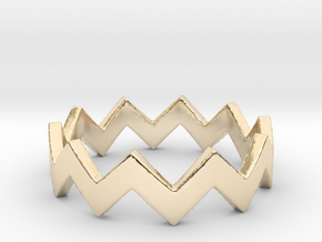 Zig Zag Wave Stackable Ring Size 4 in 14k Gold Plated Brass