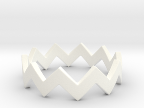 Zig Zag Wave Stackable Ring Size 4 in White Processed Versatile Plastic