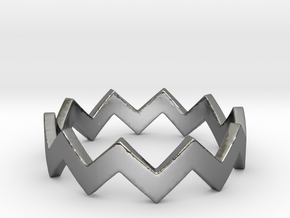 Zig Zag Wave Stackable Ring Size 5 in Fine Detail Polished Silver