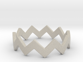 Zig Zag Wave Stackable Ring Size 5 in Natural Sandstone
