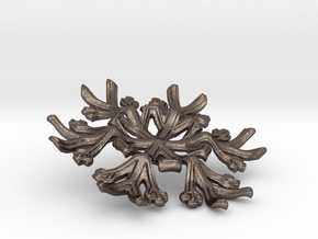 Snowflake Candle Stand - d=70mm in Polished Bronzed Silver Steel