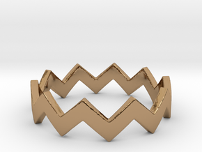 Zig Zag Wave Stackable Ring Size 6 in Polished Brass