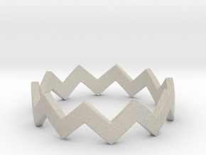 Zig Zag Wave Stackable Ring Size 6 in Natural Sandstone