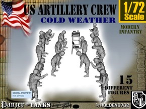 1-72 US Artillery Crew Cold Weather in Smooth Fine Detail Plastic