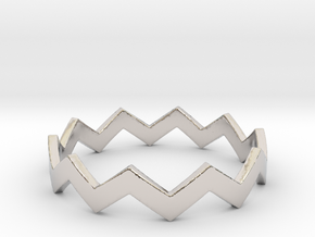 Zig Zag Wave Stackable Ring Size 11 in Rhodium Plated Brass