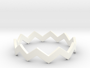 Zig Zag Wave Stackable Ring Size 11 in White Processed Versatile Plastic