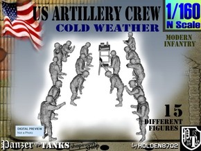 1-160 US Artillery Crew Cold Weather in Smooth Fine Detail Plastic