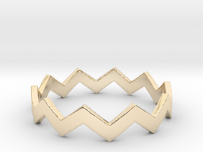Zig Zag Wave Stackable Ring Size 10 in 14k Gold Plated Brass