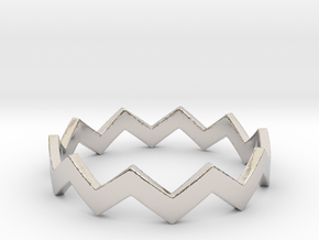 Zig Zag Wave Stackable Ring Size 10 in Rhodium Plated Brass