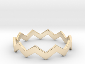 Zig Zag Wave Stackable Ring Size 12 in 14k Gold Plated Brass