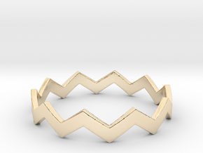 Zig Zag Wave Stackable Ring Size 13 in 14K Yellow Gold