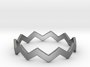 Zig Zag Wave Stackable Ring Size 13 in Fine Detail Polished Silver
