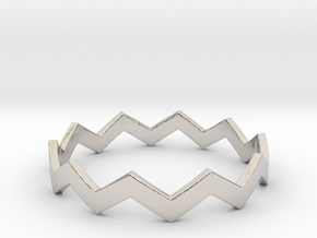 Zig Zag Wave Stackable Ring Size 14 in Rhodium Plated Brass