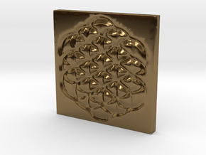 Flower of Life Square Pendant in Polished Bronze