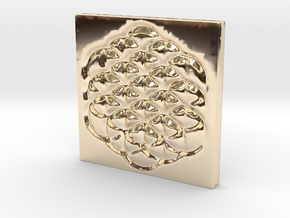 Flower of Life Square Pendant in 14k Gold Plated Brass