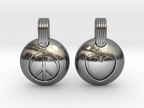 Peace & Love in Fine Detail Polished Silver