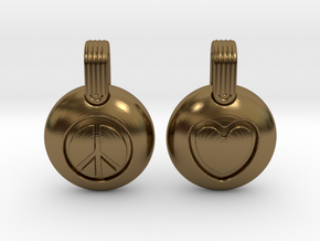 Peace & Love in Polished Bronze