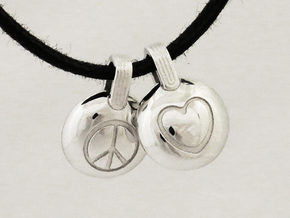 Peace & Love in Rhodium Plated