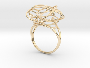 FLOWER OF LIFE Ring Nº2 in 14k Gold Plated Brass