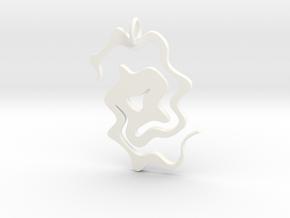 Abstract Pendant in White Processed Versatile Plastic