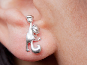 Squirrel Earrings in Natural Silver