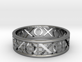 Size 10 Xoxo Ring A in Fine Detail Polished Silver