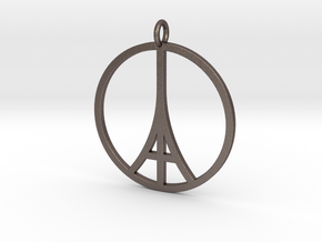 Paris Peace Pendant in Polished Bronzed Silver Steel