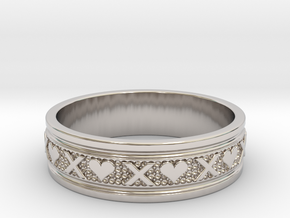 Size 10 Xoxo Ring B in Rhodium Plated Brass