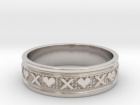 Size 11 Xoxo Ring B in Rhodium Plated Brass