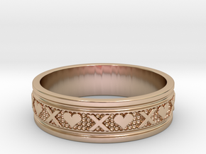 Size 12 Xoxo Ring B in 14k Rose Gold Plated Brass