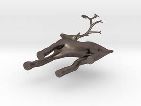 christmas deer ornament  in Polished Bronzed Silver Steel