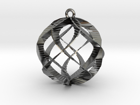 Spiral Sphere Ornament  in Fine Detail Polished Silver