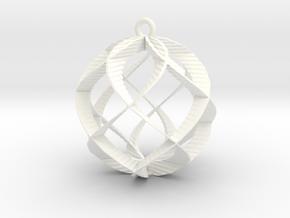 Spiral Sphere Ornament  in White Processed Versatile Plastic