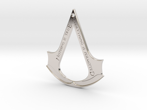 Assassin's creed logo-bottle opener (with hole) in Rhodium Plated Brass