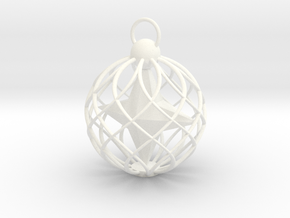 Star Cage Bauble in White Strong & Flexible Polished