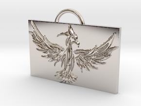 Phoenix in Flight in Rhodium Plated Brass