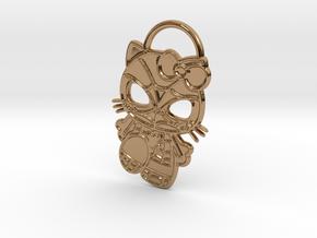 Hello Spider-Kitty Keychain in Polished Brass
