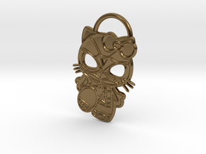 Hello Spider-Kitty Keychain in Polished Bronze