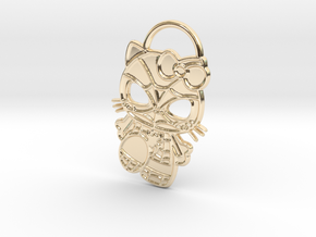 Hello Spider-Kitty Keychain in 14k Gold Plated Brass
