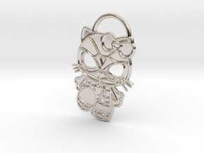 Hello Spider-Kitty Keychain in Rhodium Plated Brass
