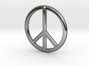 Peace Symbol in Fine Detail Polished Silver