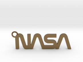 Nasa Keychain in Polished Bronze