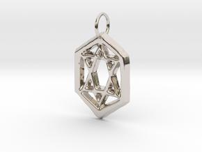 Jewish Star in Rhodium Plated Brass